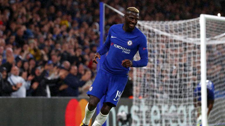 Bakayoko celebrates scoring hist first Chelsea goal against Qarabag