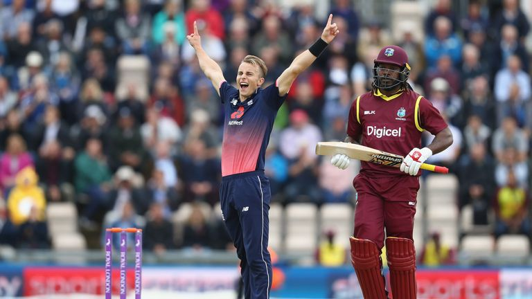 Tom Curran dismissed Chris Gayle after the West Indian had hit an entertaining 40
