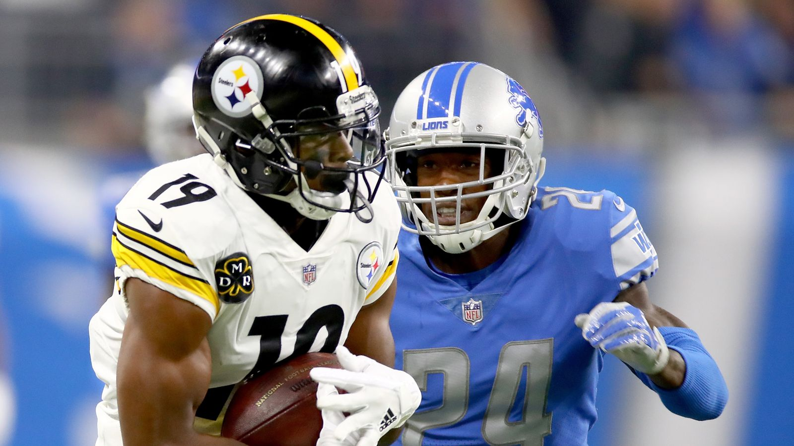 bfb46b71e48 Pittsburgh Steelers 20-15 Detroit Lions: JuJu Smith-Schuster scores 97-yard  TD in road win | NFL News | Sky Sports