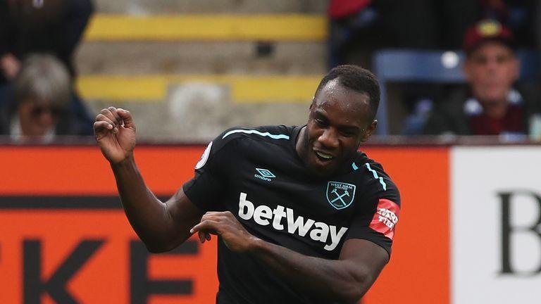 Michail Antonio celebrates his goal against Burnley