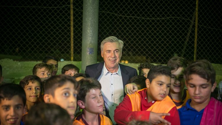 Ancelotti hosted a special training session in Jerusalem for local children from various faiths