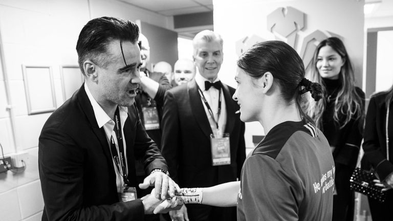 Colin Farrell wished Katie Taylor good luck before her world title fight