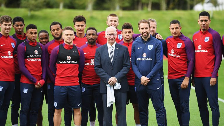 Sir Bobby Charlton met with the England squad at St George's Park