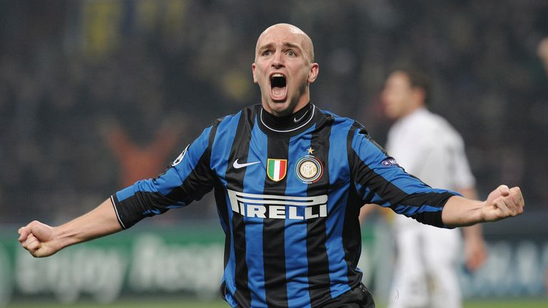 Esteban Cambiasso celebrates his goal in the 2-1 Champions League last-16 first-leg win over Chelsea in 2010
