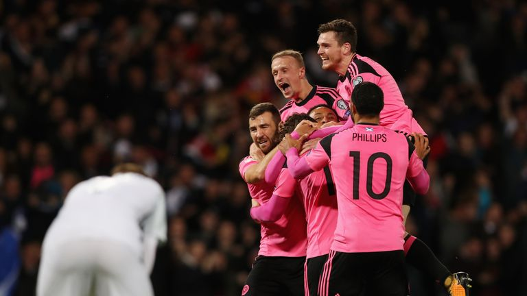 Scotland players celebrate as Martin Skrtel scores an own goal