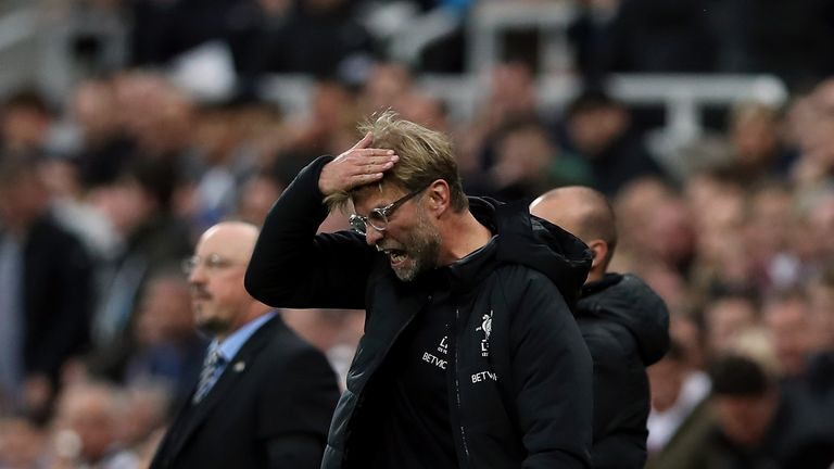 Liverpool manager Jurgen Klopp shows his frustration during the draw at Newcastle
