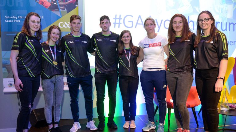 GAA Youth Representatives pictured with Tipperary hurler Brendan Maher, Kerry footballer Paul Geaney, and Mayo footballer Cora Staunton