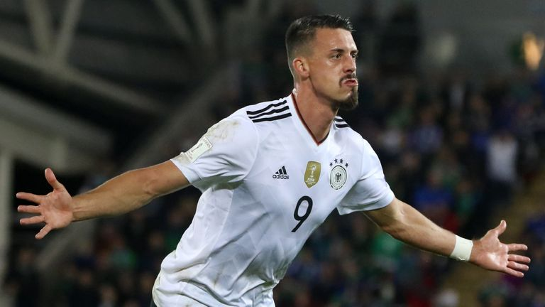 Germany's Sandro Wagner celebrates after scoring their second goal