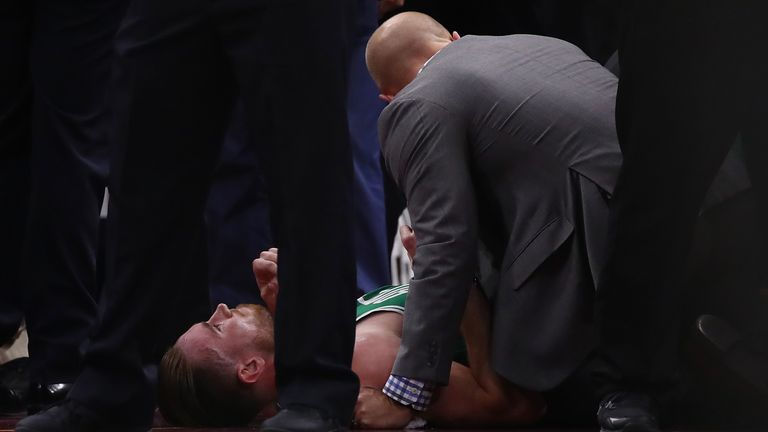 Hayward was forced to leave the court on a stretcher after colliding with Cleveland's LeBron James