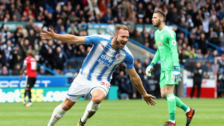 Laurent Depoitre celebrates scoring against United at the John Smith's Stadium