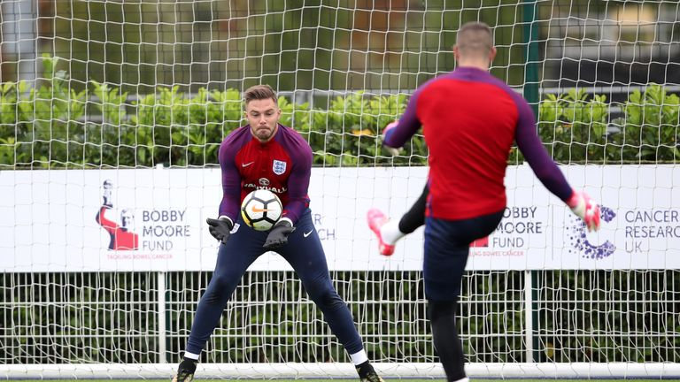 Jack Butland is out of the England squad after breaking a finger in training