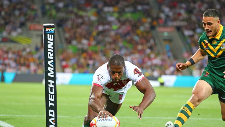 Jermaine McGillvary scored the opening try of the World Cup as England lost to Australia