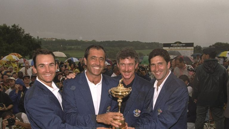 Ignacio Garrido, captain Seve Ballesteros, his assistant Jimenez and Jose Maria Olazabal celebrate with the Ryder Cup in 1997