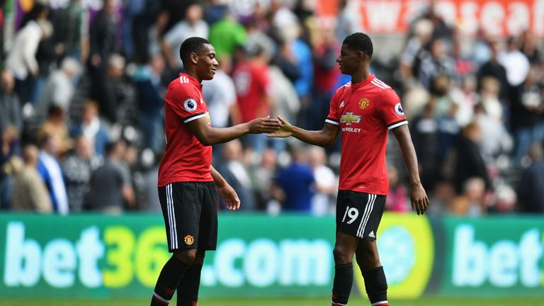 Manchester United's Anthony Martial and Marcus Rashford feature on the list