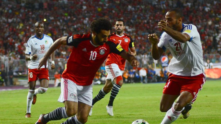 Liverpool's Mo Salah scored twice against Congo to send Egypt to the World Cup