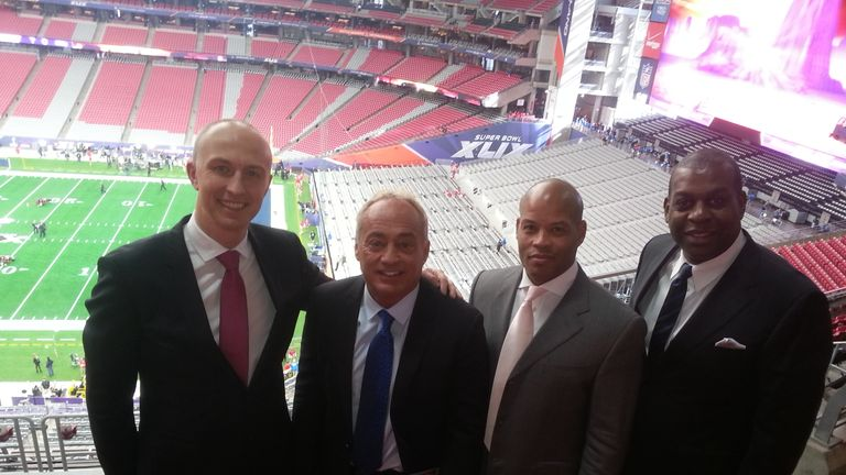 Kevin Cadle (R) pictured at Super Bowl XLIX with the Sky Sports NFL crew