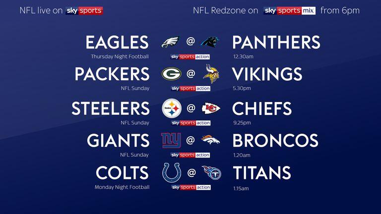 NFL Week Six schedule live on Sky Sports