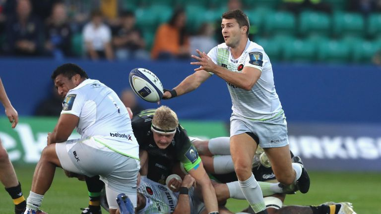 Saracens scrum-half Richard Wigglesworth has come onto the replacements bench
