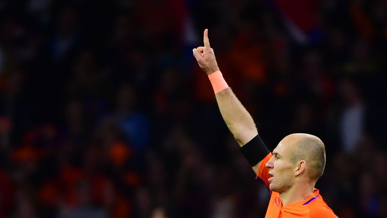 Arjen Robben announced his international retirement after scoring twice for the Netherlands against Sweden