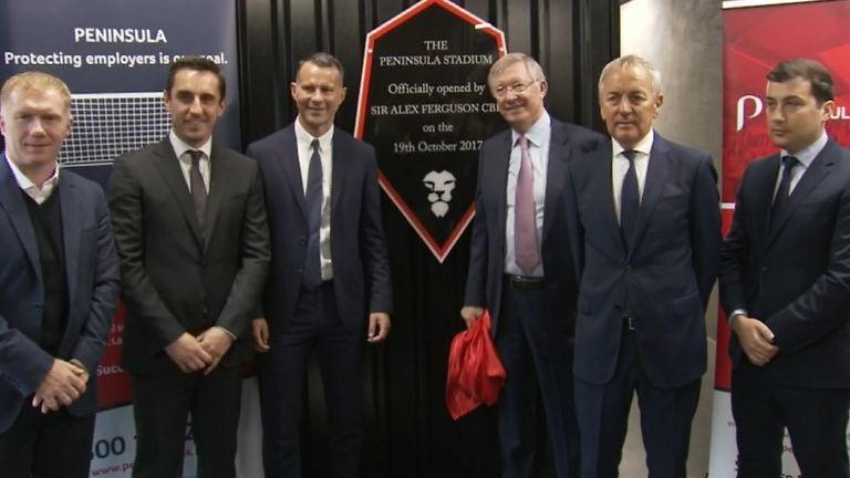 Sir Alex Fegruson opens the new Peninsula Stadium, the home of Salford City