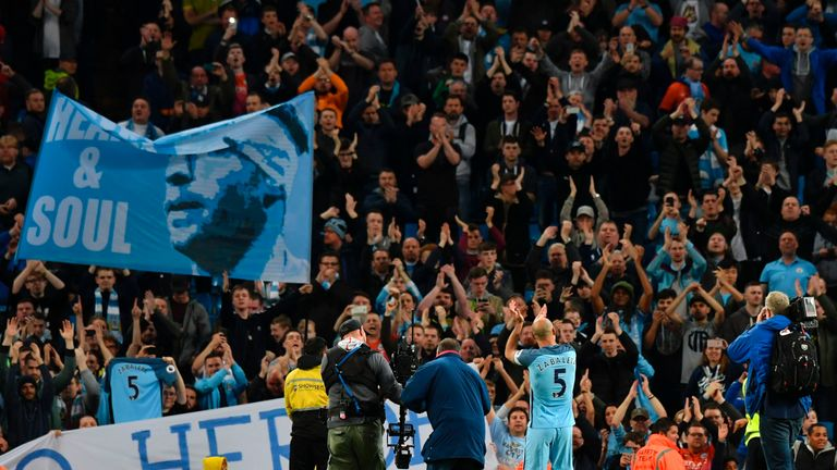 Manchester City fans pay tribute to Zabaleta in his final home appearance for the club