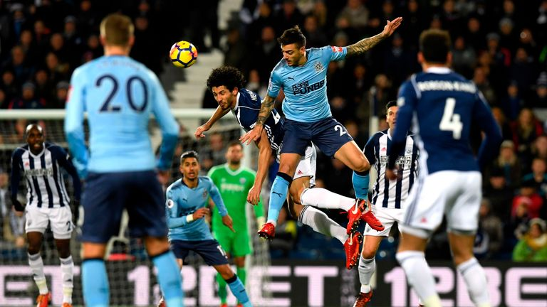 West Brom's Ahmed Hegazy challenges Newcastle's Joselu
