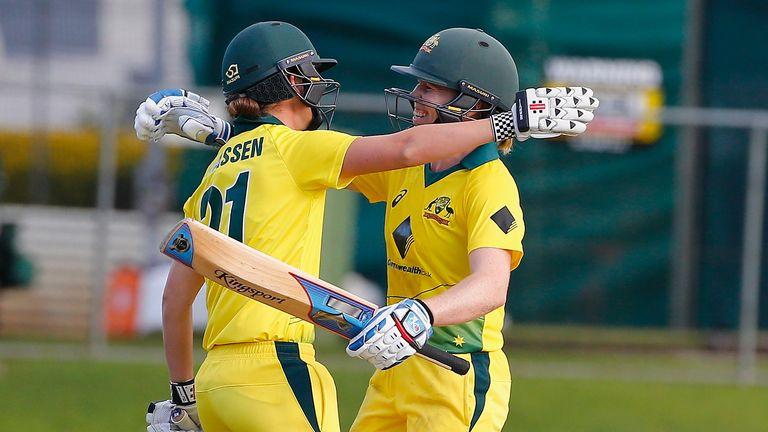 Jess Jonassen and Blackwell embrace after Australia's win over England in Brisbane