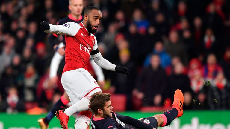 Alexandre Lacazette put Arsenal into an early lead against Huddersfield