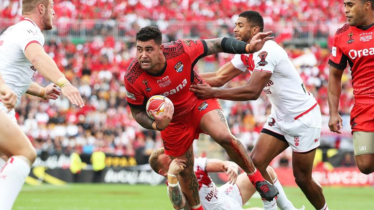 Andrew Fifita on the charge for Tonga