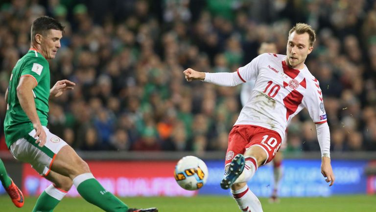 Christian Eriksen scored a hat-trick for Denmark against Ireland on Tuesday night