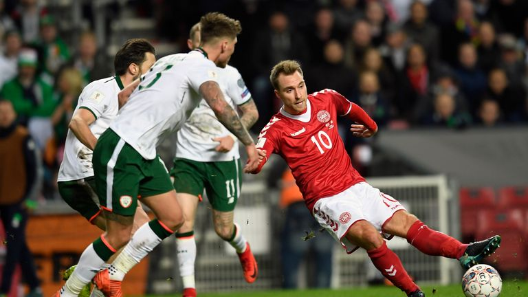 Christian Eriksen in action for Denmark against Republic of Ireland
