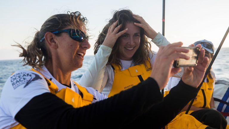 Murphy and skipper Dee Caffari pose for a selfie