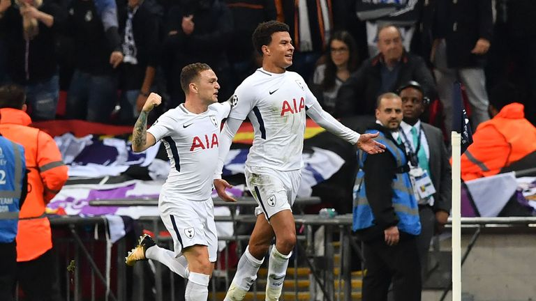Tottenham's Dele Alli (R) celebrates with Kieran Trippier after scoring the opening goal v Real Madrid at Wembley in the Champions League