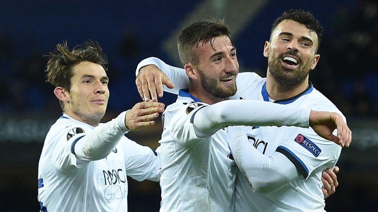 Atalanta midfielder Bryan Cristante celebrates scoring against Everton in the 5-1 win