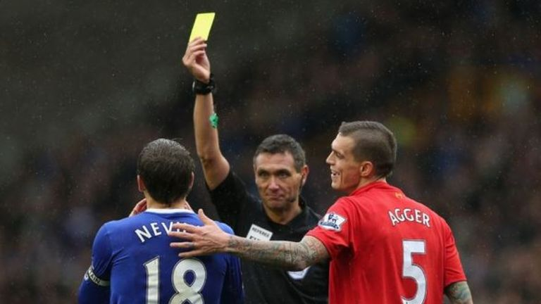 Phil Neville was booked for simulation in 2012