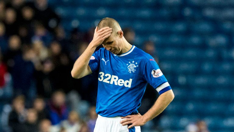 Kenny Miller cuts a dejected figure after Hamilton's first goal