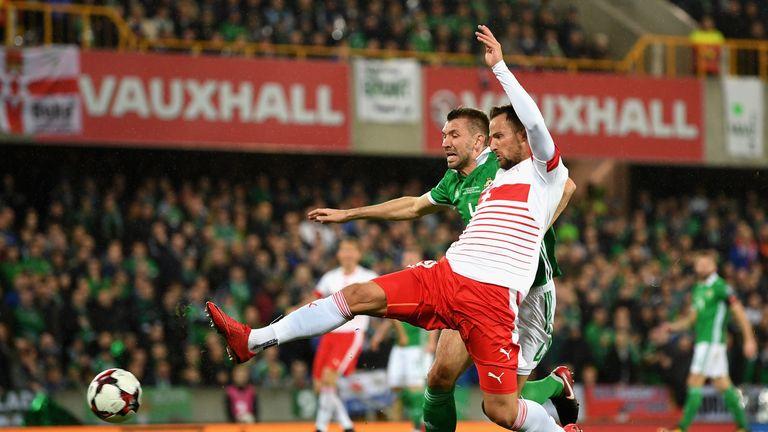 Haris Seferovic holds off Gareth McAuley