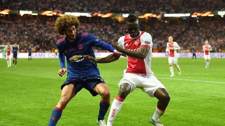 Davinson Sanchez in action against Manchester United's Marouane Fellaini during last season's Europa League final
