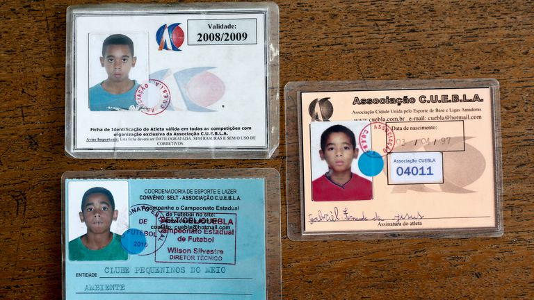Identity cards from Gabriel Jesus's time at Clube Pequeninos do Meio Ambiente
