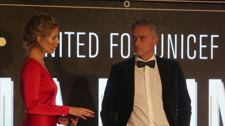 Jose Mourinho with host Rachel Riley  - also a Manchester United fan - at the United for Unicef gala dinner