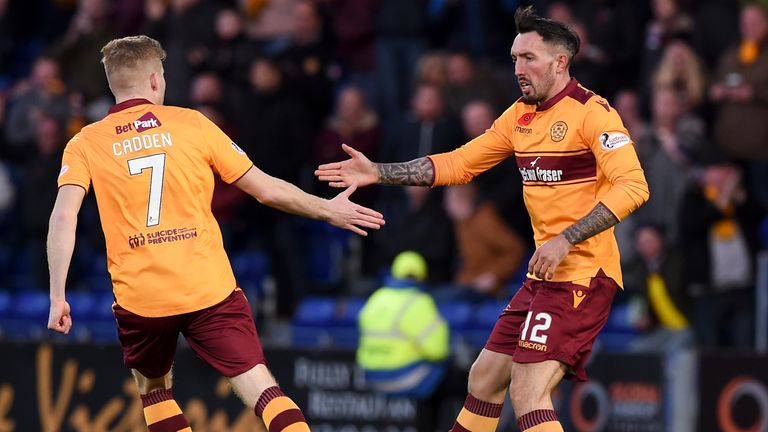 Motherwell's Ryan Bowman (R) celebrates his goal with Chris Cadden (L)