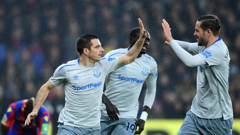 Leighton Baines celebrates his equaliser from the penalty spot