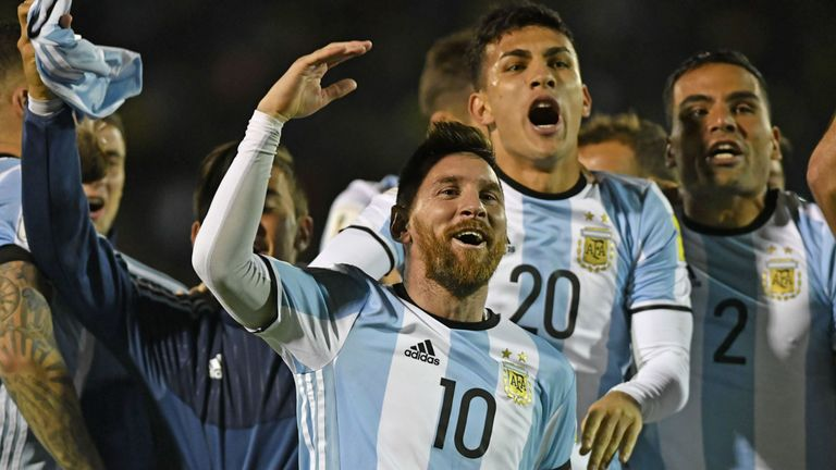 Messi celebrates after Argentina qualified for the 2018 World Cup