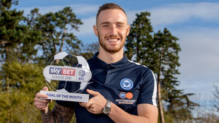 Marcus Maddison of Peterborough United is presented with the Sky Bet League One Goal of the Month award for October