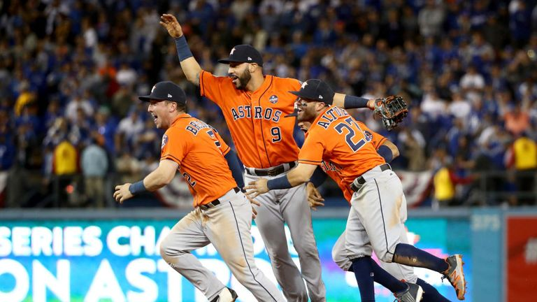 Astros' Alex Bregman, Marwin Gonzalez, Carlos Correa and Jose Altuve celebrate