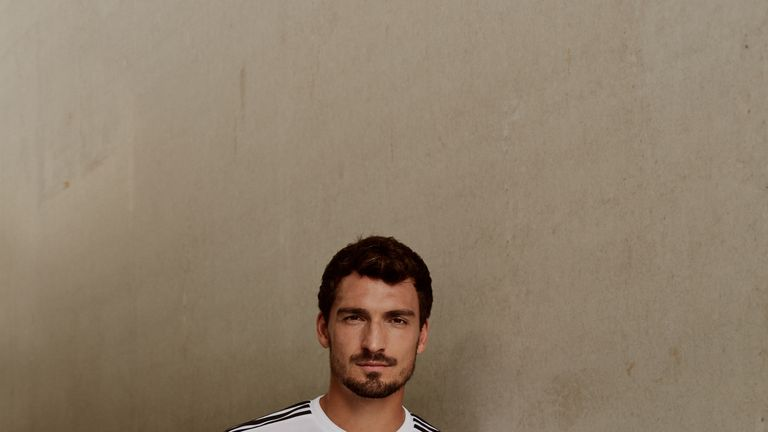 Mats Hummels wears Germany's World Cup home shirt