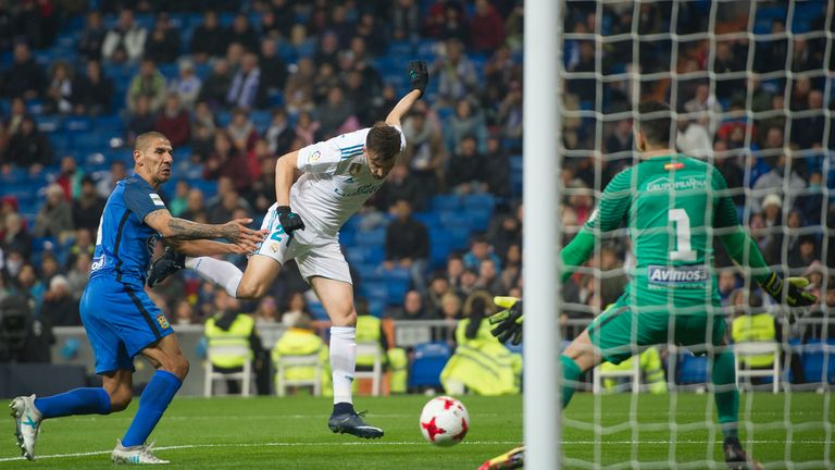 Bale set up Borja Mayoral for Real Madrid's opening goal on Tuesday night