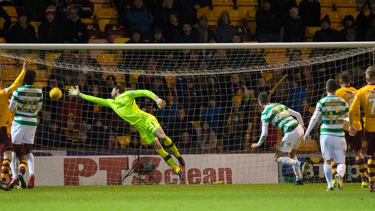 Mikael Lustig (4th right) puts past his own keeper Craig Gordon to make it 1-0 to the home side
