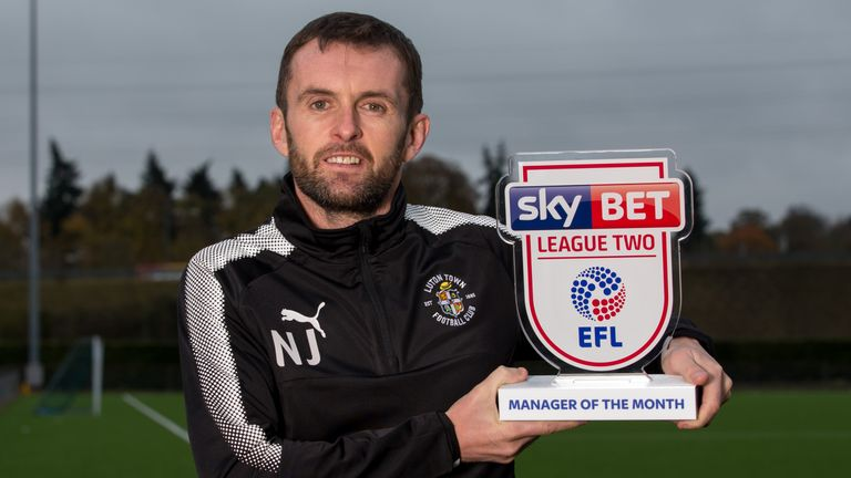 Nathan Jones of Luton Town wins the Sky Bet League Two Manager of the Month award