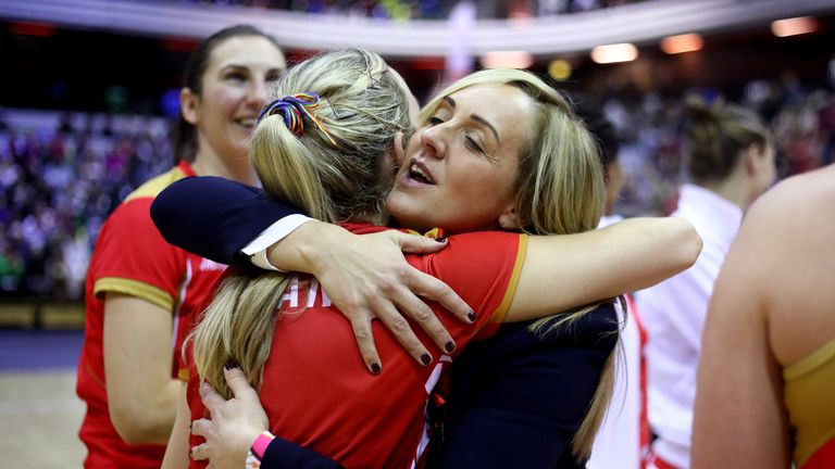 England's head coach Tracy Neville congratulates the team after Sunday's victory during the Vitality Netball International Series against Malawi